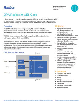 DPA Resistant AES Core Product Brief