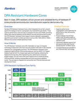 DPA Resistant Hardware Cores Product Brief