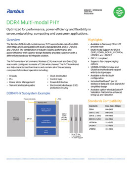 DDR4 Multi-modal PHY Product Brief