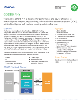 GDDR6 PHY Product Brief